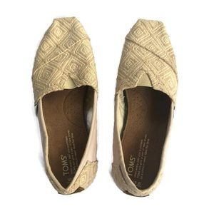 TOMS Nude Light Pink Canvas Slip On Shoes  flats